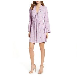 Lily surplice lilac dress with sleeves